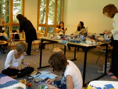 Facilitating workshops for Community Mobilization led by fabric artist and community advocate, Deborah Stockdale.