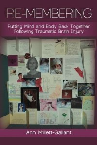 Picture shows the violet-hued illustrated book cover. In the center is the page of an open scrapbook covered in drawings on paper, photographs, cards, and pages of writings. At the top of the cover is the text: Re-Membering: Putting Mind and Body Back Together Following Traumatic Brain Injury. At the bottom of the cover is the text: Ann Millett-Gallant. [end of description]