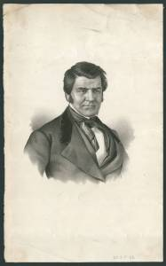 Picture shows a bust-length lithographed portrait of Albert Newsam. His body is slightly angled to the viewer's left and his gaze looks slightly to the viewer's right. He has dark hair, parted on the left side to the viewer, and worn slightly long and swept to the sides. He also has side burns. Newsam wears a jacket with wide notched lapels that are partially in velvet and over a loose fitting vest and a white shirt. He also wears a cravat with the ends hanging loosely. [end of description]