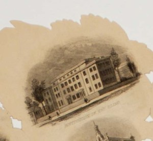 """Picture shows a close-up of a vignette image at the top of one of the jagged- edged """"petals"""" of one of the prints. Vignette depicts the four-story rectangular shaped building with several rectangular windows of the Pennsylvania Institution for the Instruction of the Blind. A tree flanks each side of the building. A smaller building with several rectangular windows stands behind the larger building to the viewer's right. The side of another smaller building stands next to the larger building to the viewer's left. Three pedestrians – a man and a couple composed of a man and a woman – walk on the sidewalk in front of the building. Text printed below the image reads: """"Institution of the Blind."""" [end of description]"""