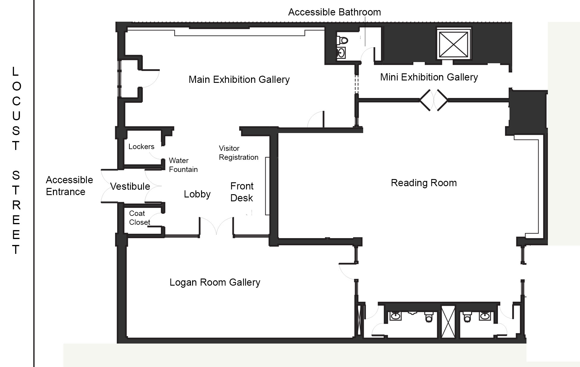 Picture shows first floor plan of the Library. Plan includes areas designated Accessible Entrance, Front Desk, Visitor Registration, Water Fountain, Main Exhibition Gallery, Accessible Bathroom, and Mini Exhibition Gallery. From Front Desk designated spaces move in a clockwise direction.