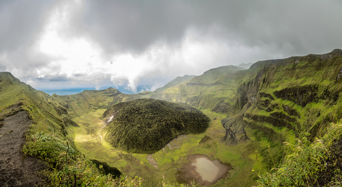 The La Soufriere volcano crater on St. Vincent