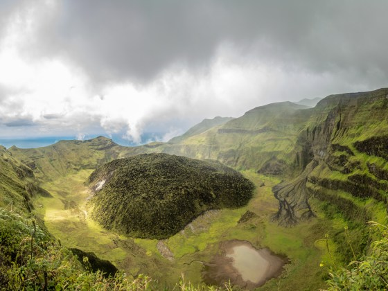 The La Soufriere volcano crater on St. Vincent