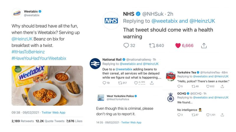 Weetabix and beans tweet, plus reactions from other brands' comms pros