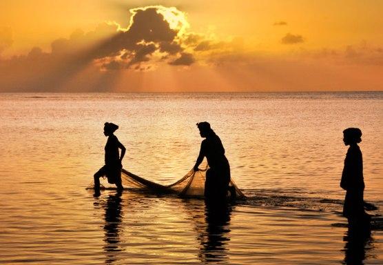 Pêcheuses au filet. (Nosy Boraha, ile Sainte-Marie, côte est de Madagascar, Océan Indien).