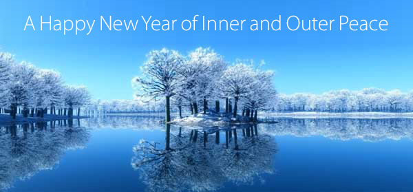 Snowy trees by a calm lake - A Happy New Year of Inner and Outer Peace