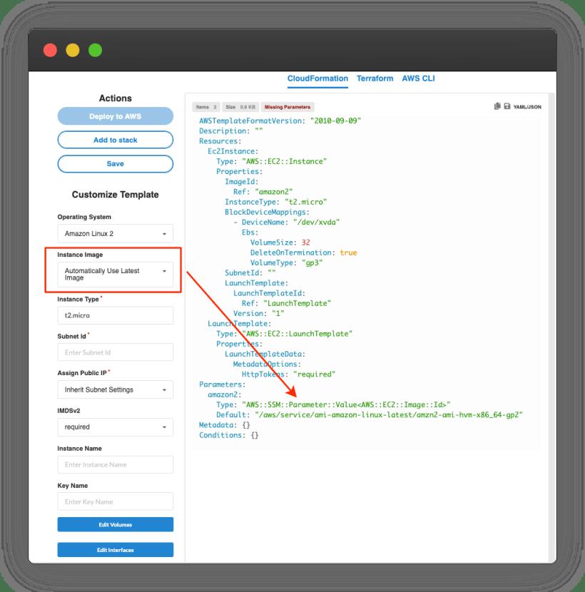AsecureCloud Template builder showing EC2 customization