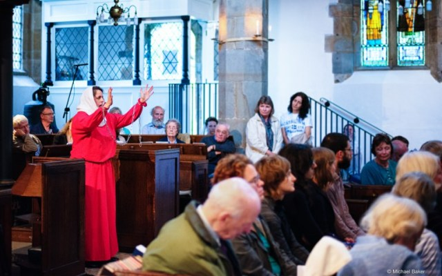 Peregrini. Eve in chains (Helen Barber) appeals to Christ. Photo credit: Michael Baker.