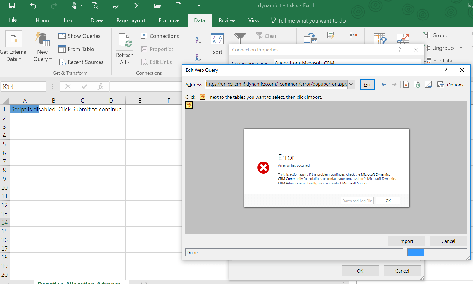 Dynamic Worksheet Unable To Auto Refresh