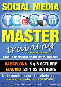 Septiembre y octubre. Programación cursos social media, community manager, redes sociales con Enrique San Juan