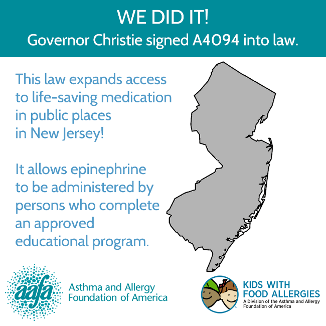 NJ Governor Signs Law Allowing Access to Epinephrine in Public Places ...