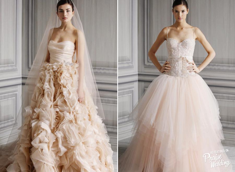 Monique Lhuillier Ballerina Inspired Blush Wedding Dresses