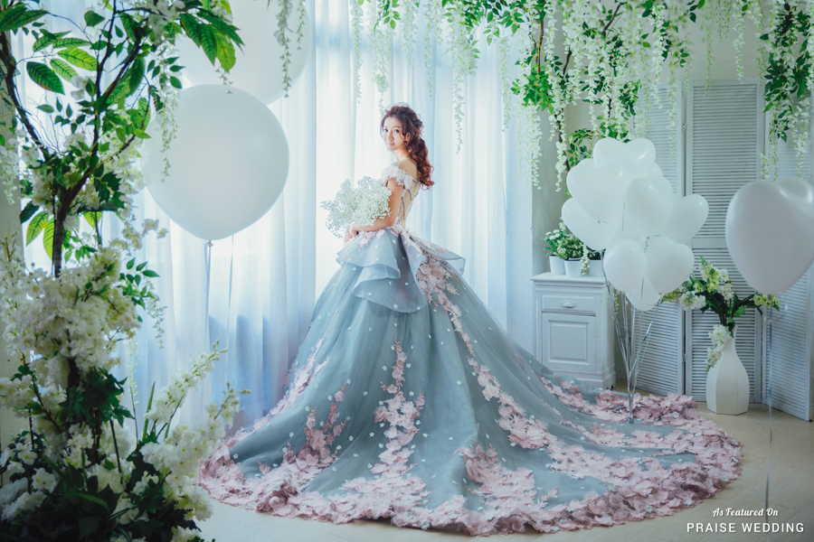 This Utterly Romantic Bridal Portrait Featuring A Jaw Droppingly Beautiful Pastel Ball Gown Is