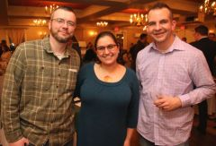 SOCIAL MOMENTS: Litchfield Montessori School wine-tasting.LITCHFIELD, CT - 1 March 2020 - 030120JM11 - From left, Jason and Susan Patrick and Ryan Crichton, all of Northfield. John McKenna Photo