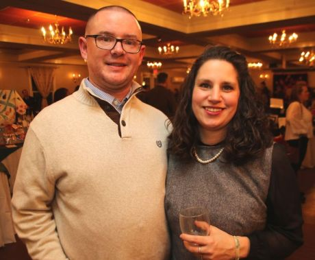 SOCIAL MOMENTS: Litchfield Montessori School wine-tasting.LITCHFIELD, CT - 1 March 2020 - 030120JM09 - Geoff and Melanie Dobos of Thomaston. John McKenna Photo
