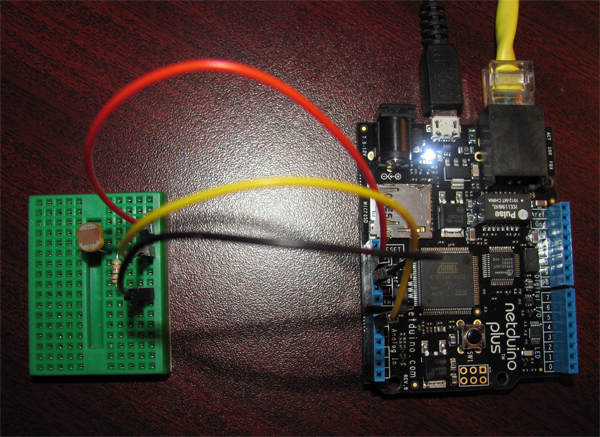 Light Sensor Connected to Netduino Plus