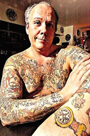 A 53-old American man has over 1900 tattoos of disney cartoons on his body.