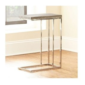 Chrome Frame with Wood Grain Laminate - Chairside Table