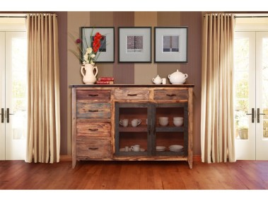 Interntational Furniture Direct 900 Antique Multicolor Buffet with 6 Drawers