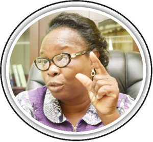 The new University Librarian, Dr. (Mrs.) Fehintola Onifade driving home her point with gesticulation during a brief interview after her appointment was confirmed.