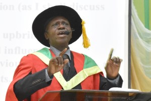 The Inaugural Lecturer, Prof. Segun Apantaku driving home a salient point during the 57th Inaugural Lecture of the University