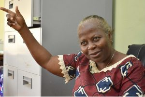 The Lead Scientist, Professor Olufunmilayo Ayoka Adebambo pointing the way to FUNAAB ALPHA