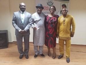 From Left, the Vice-Chancellor, Professor Kolawole Salako, the Deputy Executive Secretary of NUC, Professor Chiedu Mafiana and the Executives of FUNAAB Alumni, Abuja Branch at the occasion