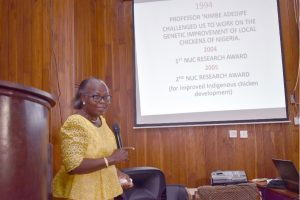 The principal Researcher, Professor Olufunmilayo Adebambo delivering power-point presentation of the development of FUNAAB ALPHA Breed at the occasion