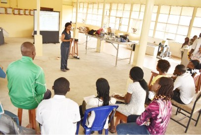 Postharvest Specialist, Dr. Louise Abayomi training participants at the Integrated Cassava Processing Centre