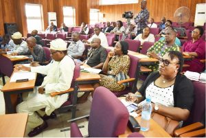 FUNAAB Begins the Process of e-Senate and Online Transcript …Adopts paperless system Cross-section of Registry Staff listening to the lecture at the e-Senate launch.