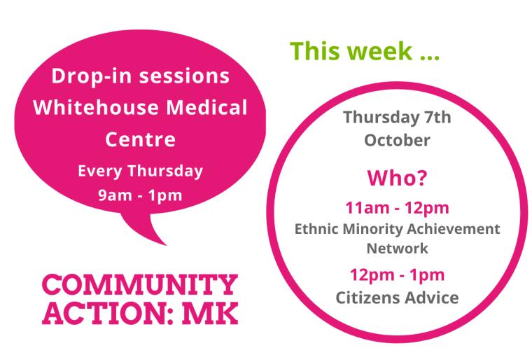 11am - 12pm Ethnic minority achievement network, 12pm - 1pm Citizens Advice - this thursday