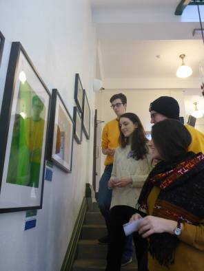 The BEES team admiring the artwork