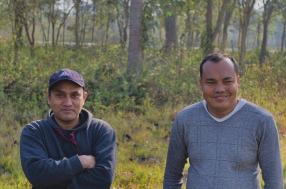 Two conservation practitioners standing together in Nepal
