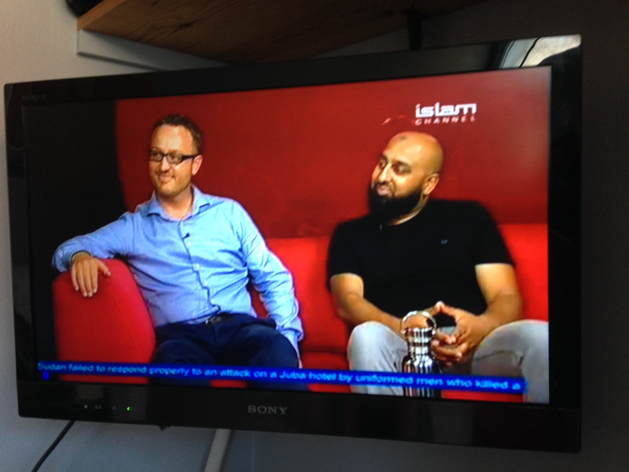 Tobias and Harun on TV