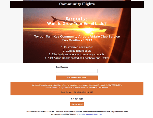 Community Airport Airfare Club Service Two Month FREE TRIAL
