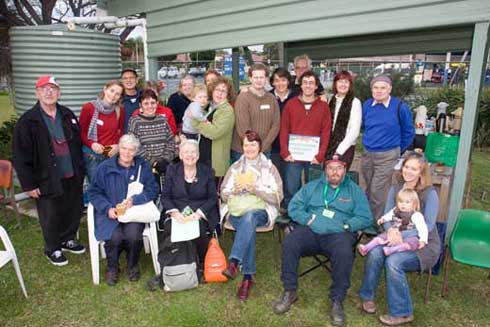 Sydney Community Gardens Network participants gather at Chester Hill Community Garden for their quarterly meeting.