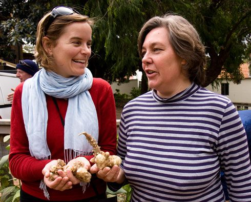 A Greg Hewish Memorial Garden member makes a gift of jerusalum artichoke tubers to Annie Walker, City of sydney Community Gardens and Volunteer Coordinator.