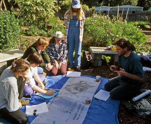 Participatory processes, like this garden planning session, are necessary for the smooth fnctioning of community gardens.