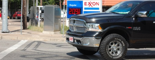 This vehicle pulls up to a traffic light on Dry Creek Road at RR 2222. The black markings on the roadway indicate an inground inductive loop detector is embedded in the street to detect the passage of motorists, Austin transportation  engineer Brian Goldberg said.