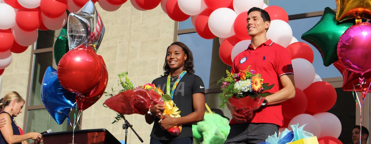 Olympic athletes Simone Manuel and Steven Lopez were welcomed home to Sugar Land with a celebration at Sugar Land Town Square Aug. 25.