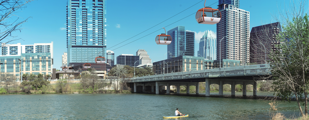 The Wire gondola system in Austin