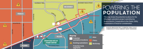 SH 121 in path of proposed power lines, substation