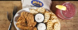 Boneless wings and waffle fries are among the items on the menu at Pluckers Wing Bar.
