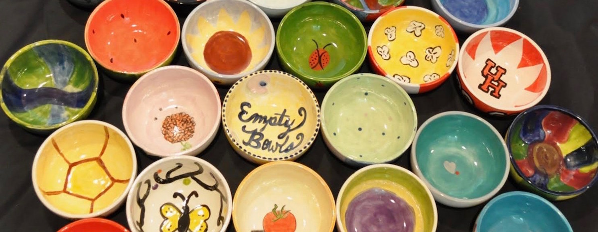 Harvest Green residents painted bowls for the Empty Bowls fundraiser
