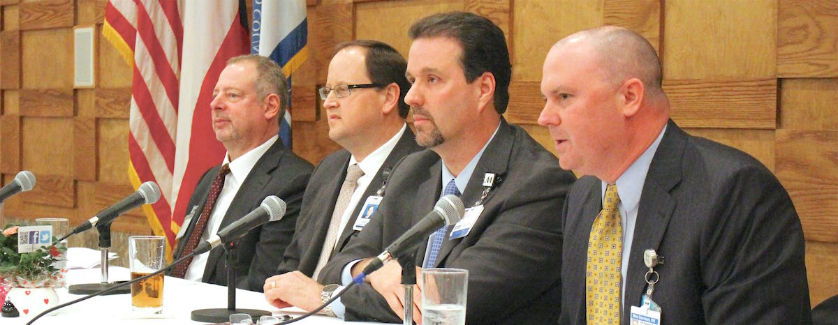 From left to right,  Joe Freudenberger of Oakbend Medical Center, Greg Haralson of Memorial Hermann Southwest and Sugar Land hospitals, Chris Siebenaler of Houston Methodist Sugar Land Hospital and Wes Garrison of CHI St. Lukes Health—Sugar Land.