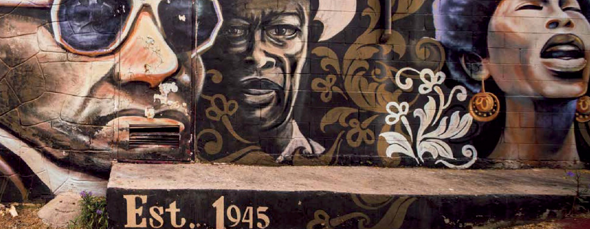 A mural in the African American Cultural Heritage District in Austin