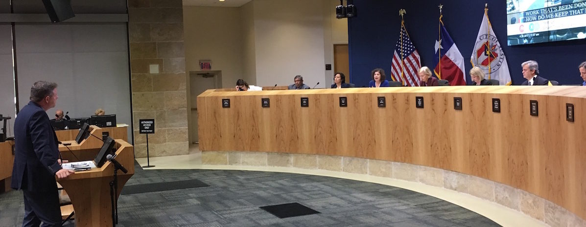Robert Spiller (left) testified to Austin City Council on Thuursday regarding the benefits of implementing the Smart Trips Program.