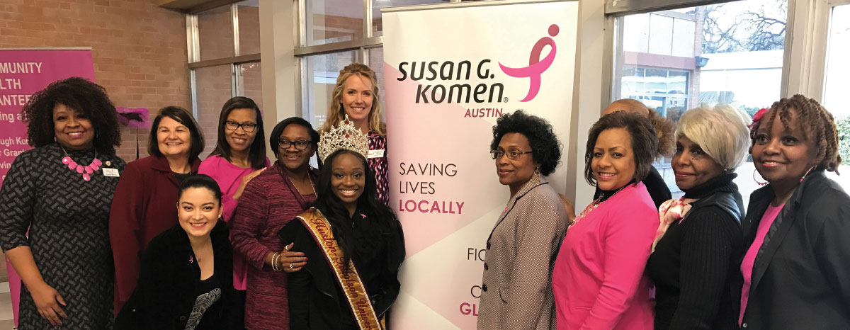 Suzanne Stone (upper left), Susan G. Komen Austin executive director, attends the first Circle of Promise event.