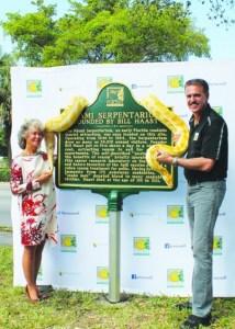 Officials dedicate time capsule and Miami Serpentarium Marker