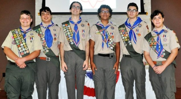 Six Boy Scouts from Troop 314 receive their Eagle Scout Awards